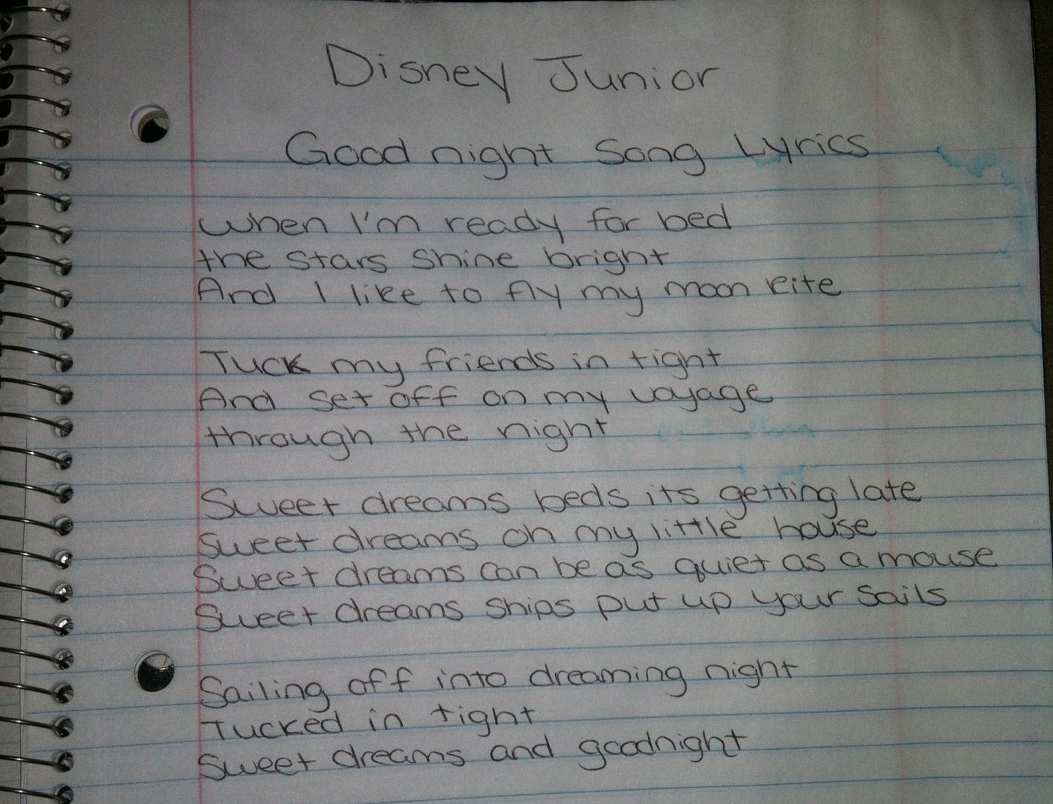 Good night song lyrics on Disney Junior! Your welcome! When I'm ...