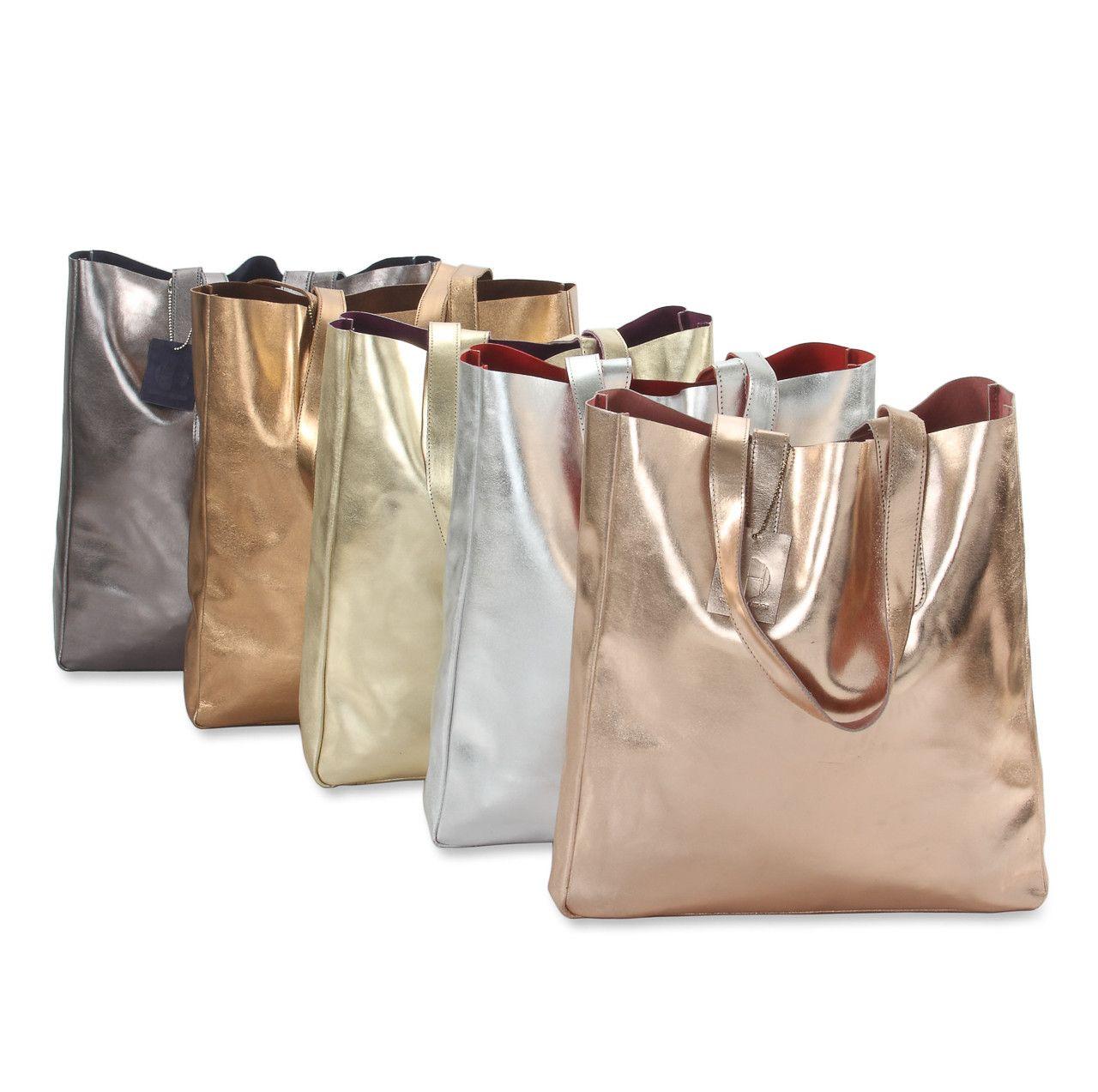 Metallic Rimor Sofia reversible leather tote bag #LB32 rose-gold ...