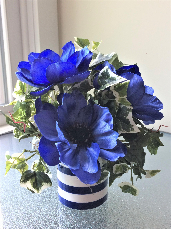 Blue Poppy Flower Arrangement, Silk Flower Centerpiece, Artificial  Arrangement, Small Silk Flower Arrangement