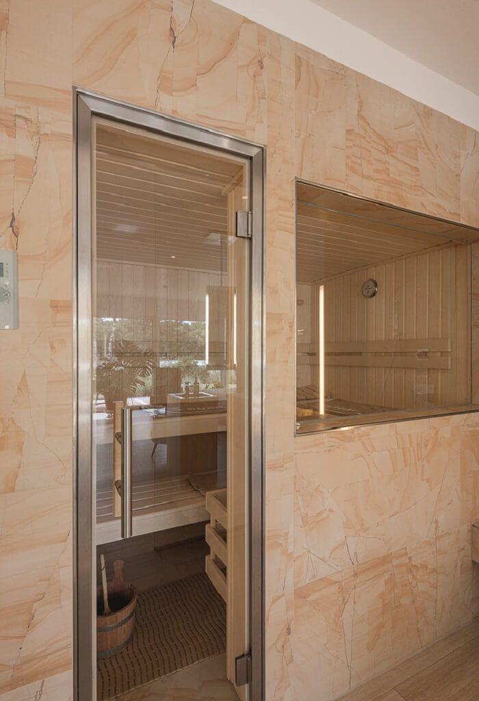 Badezimmer mit Sauna - Einrichtungsideen Haus ebenLeben-Bungalow am - schiebetüren für badezimmer