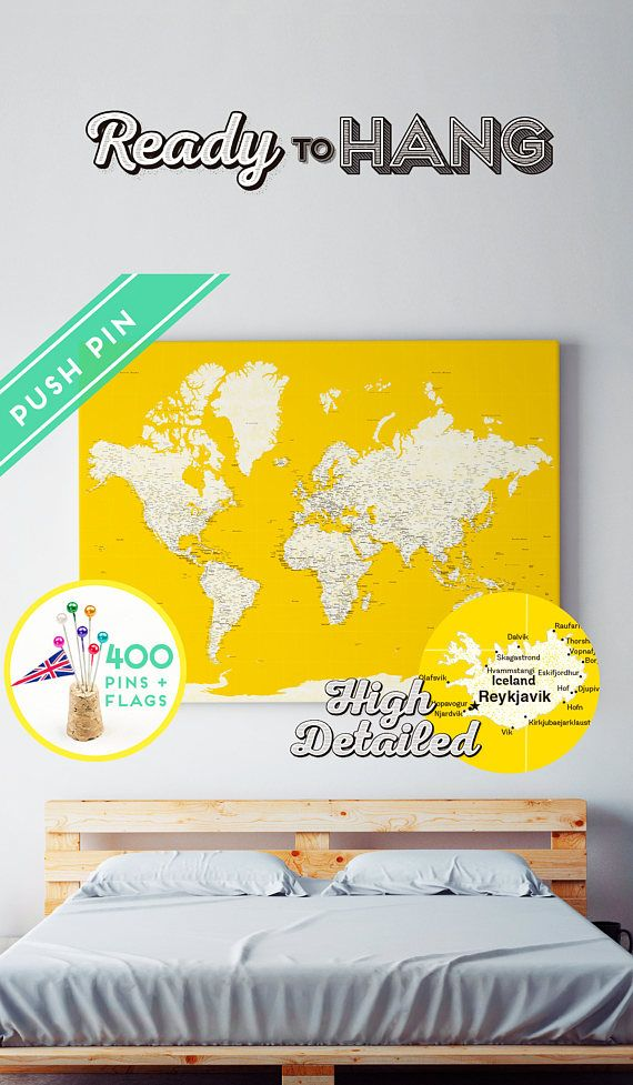 Unique map world pushpin ready to hang unique push pin map unique map world pushpin ready to hang unique push pin map personalized world travel map with pins and flags pinboard pin board with tacks gumiabroncs Gallery