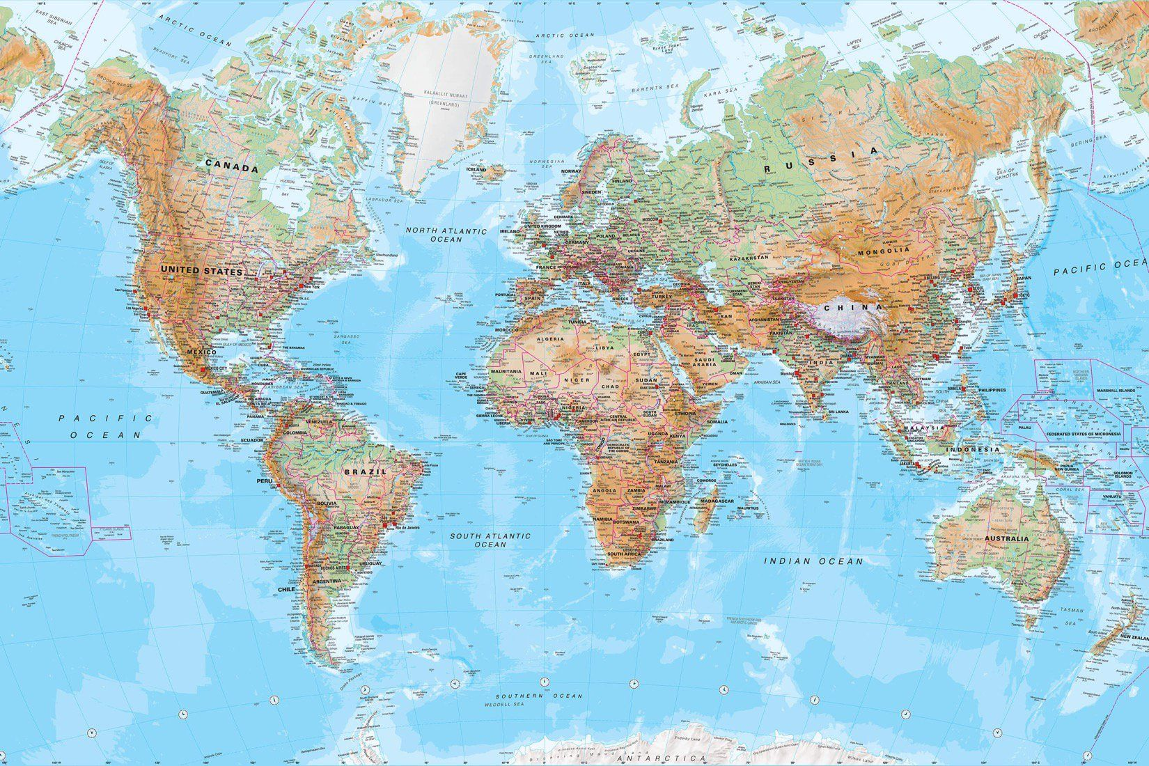 Physical world map mural wallpaper design services wall murals physical world map wall mural custom made to suit your wall size by the uks for wall murals custom design service and express delivery available gumiabroncs Images