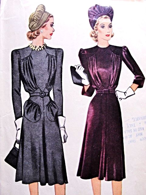 1940 Beautiful Day or Dinner Evening Dress Pattern McCALL 3908 WW ...