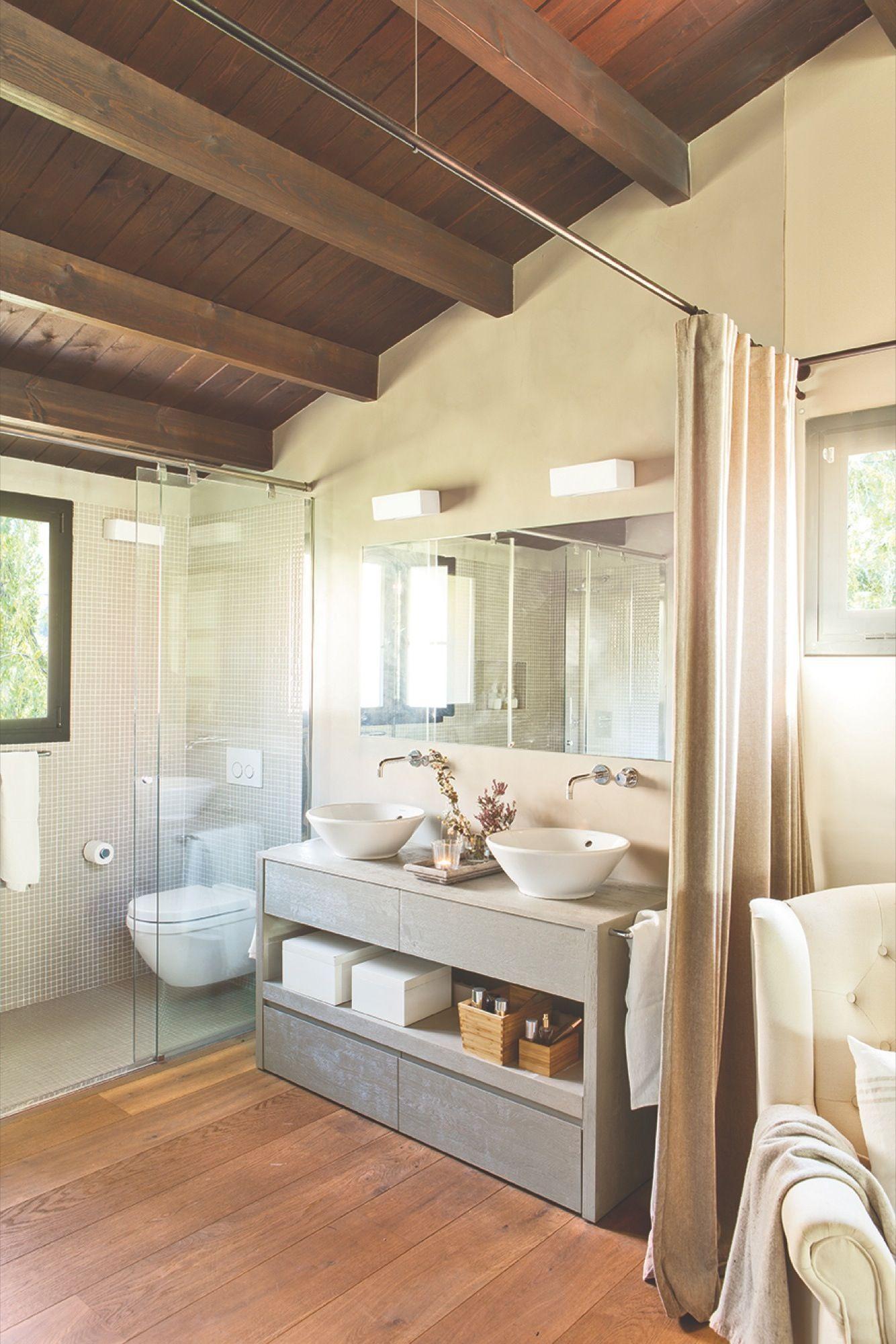 Ba o con cabina de ducha y sanitario y comunicado con el for Rustico un telaio cabina