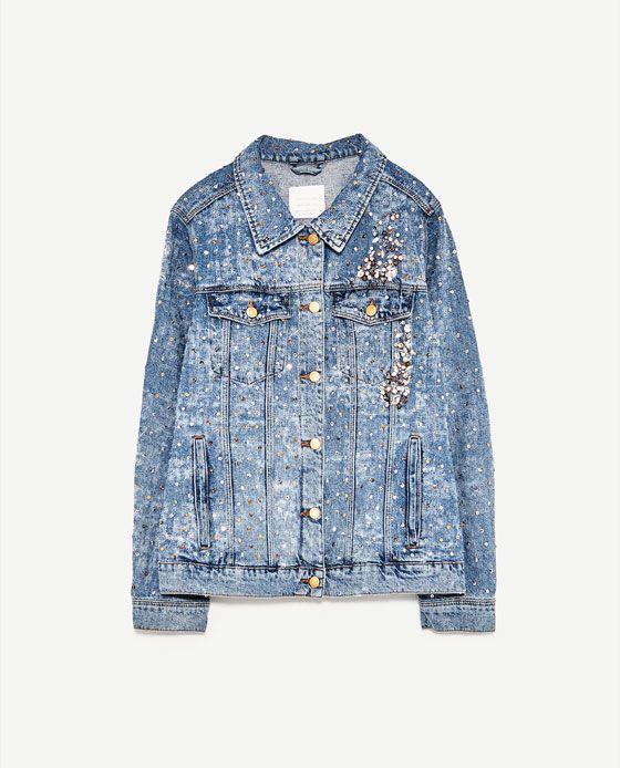 Cropped Trucker Jacke aus Denim mit bestickt DENIM   Calvin Klein Damen Jacken & Mäntel