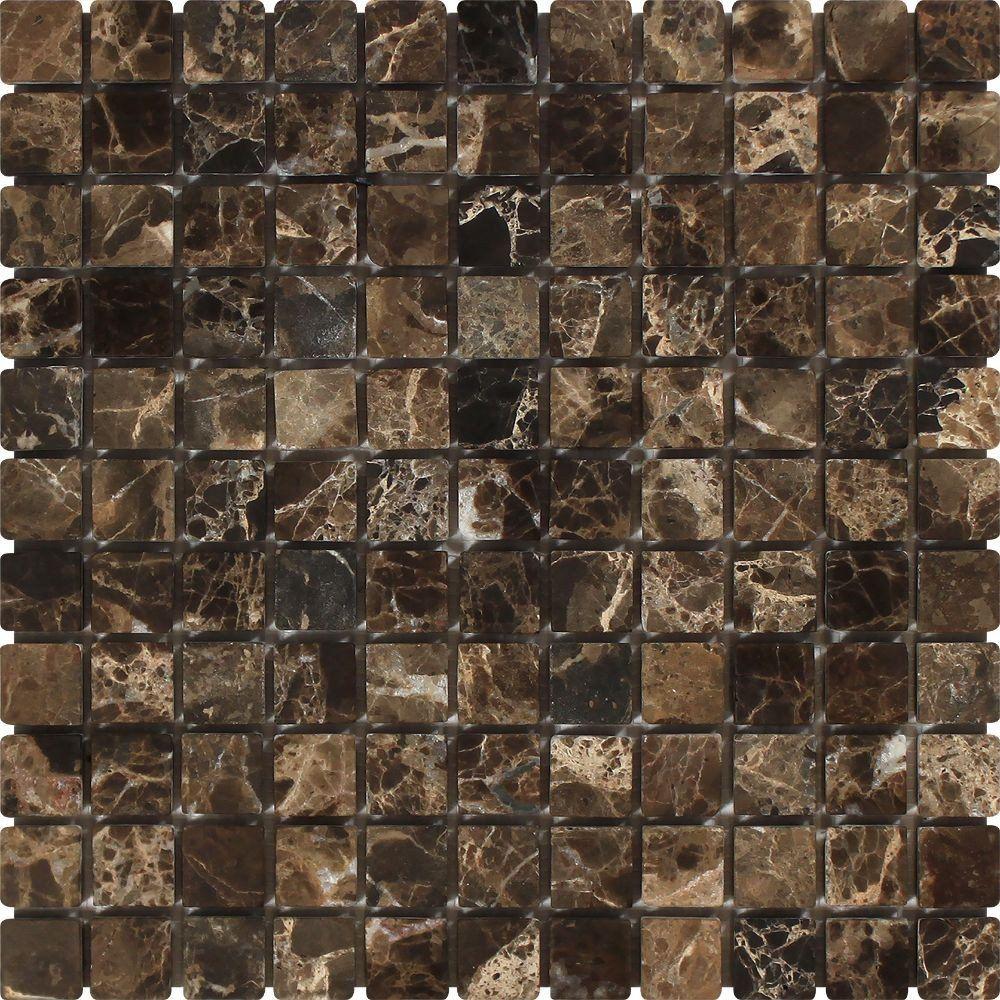 1 X Tumbled Emperador Dark Marble Mosaic Tile