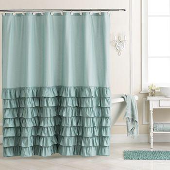 LC Lauren Conrad Ella Ruffle Fabric Shower Curtain, Grey   Ruffle ...