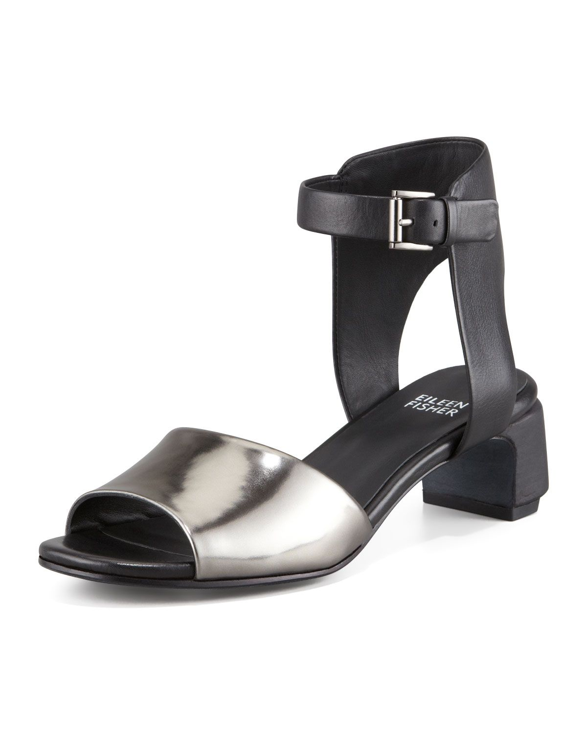Eileen Fisher Catch Leather Ankle-Wrap Sandal, Pewter