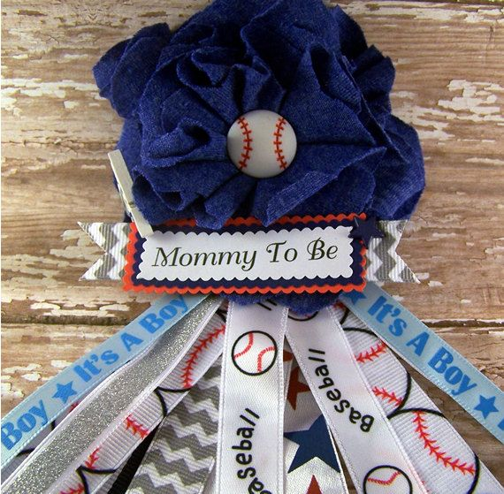 Baseball Mommy To Be Corsage Baby Shower Corsage Ready To Ship Sports Theme Mommy Badge Corsage Fabric Flower on Etsy, $15.00