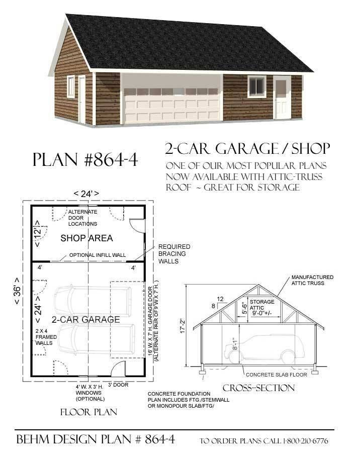 2 Car Garage With Shop And Attic Plan 864 4 36 X 24 By Behm Design Garage Workshop Layout Garage Shop Plans Carriage House Plans