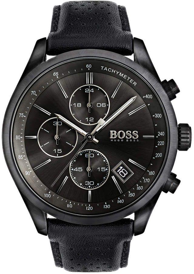 Boss Hugo Men S Chronograph Grand Prix Black Leather Strap Watch 44mm 1513474 Hugo Boss Watches Best Watches For Men Luxury Watches For Men