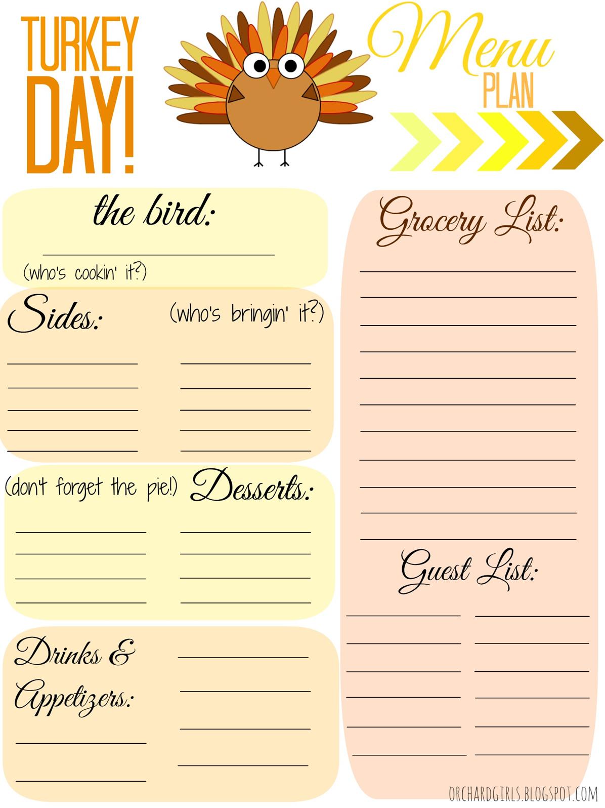 Orchard Girls Free Thankgiving Day Menu Plan Printable