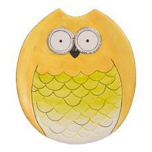 Wide Eyed Owl Small Platter Yellow