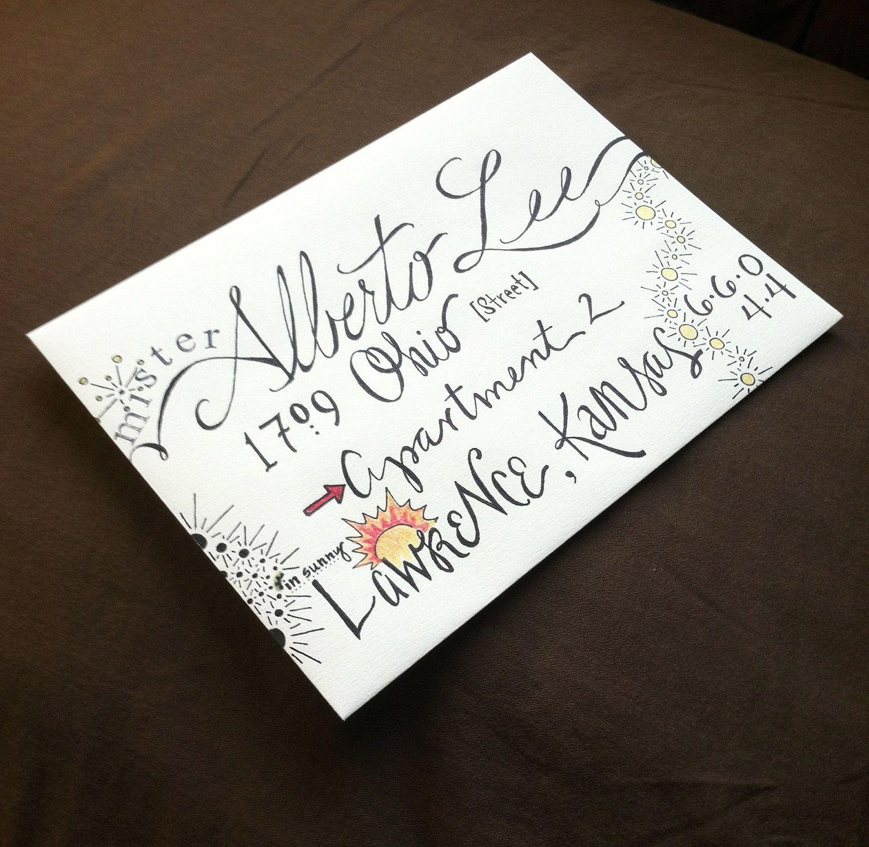 Custom calligraphy for envelopes random font cursive