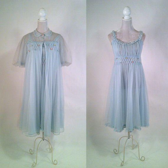 Vintage 1960s Light Blue Nylon Peignoir Set  by SLVintage