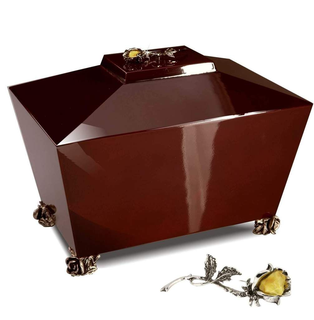 Wooden casket  Adult Cremation ashes urn.Unique memorial funeral Urn High Gloss