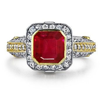 Angara Diamond Halo Ruby Split Shank Engagement Ring in 14k White Gold PlbMqo