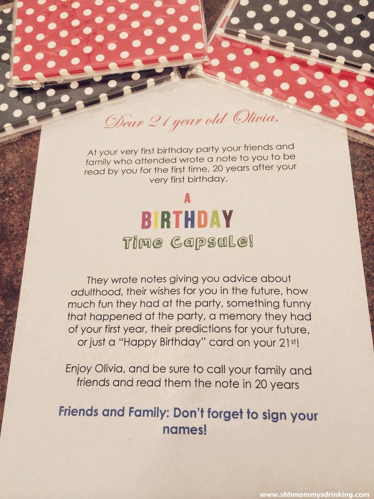 Birthday Time Capsule Note To The 1st Birthday Boy Or Girl From The