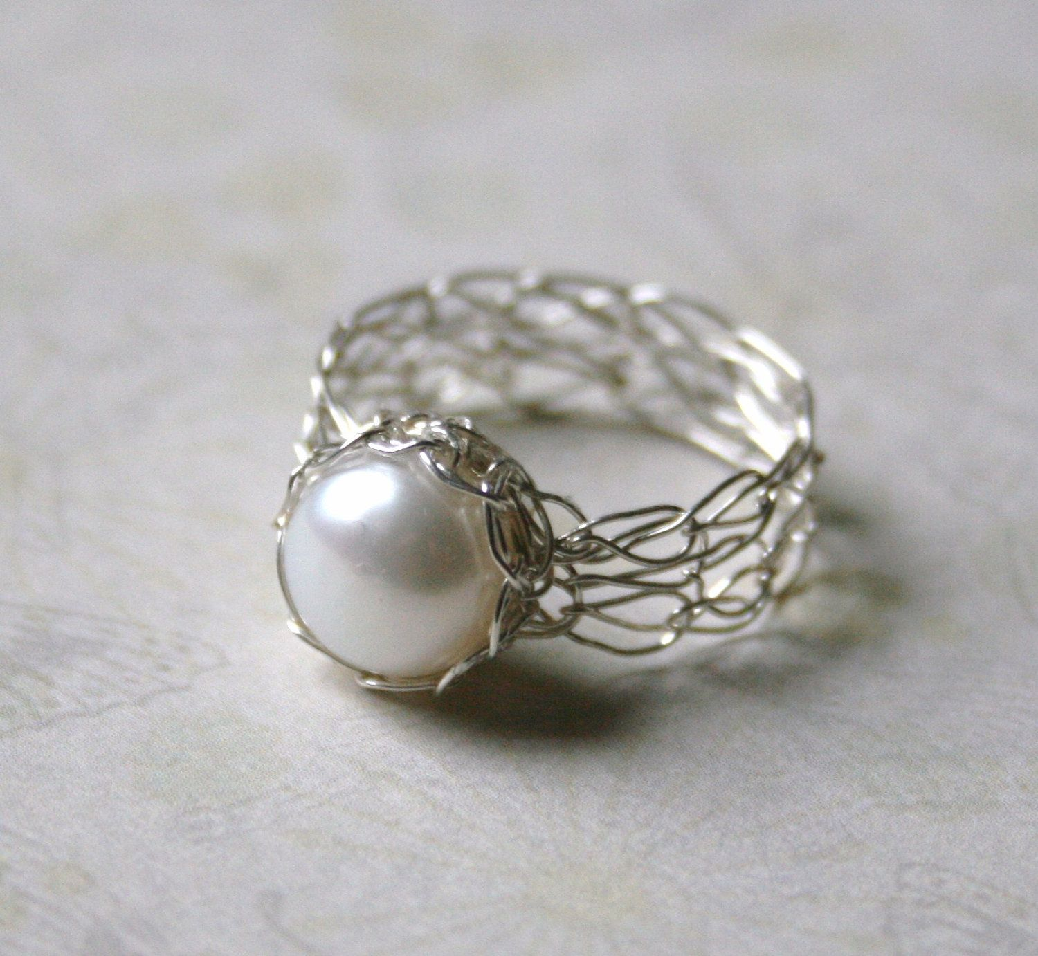 Silver Pearl Ring Wire Crocheted Sterling by WrappedbyDesign, $55.00 ...