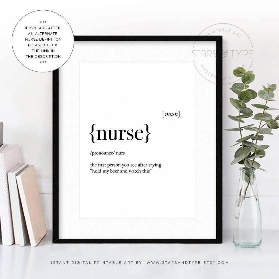 Nurse Dictionary Definition Meaning Printable Wall Art Nurse
