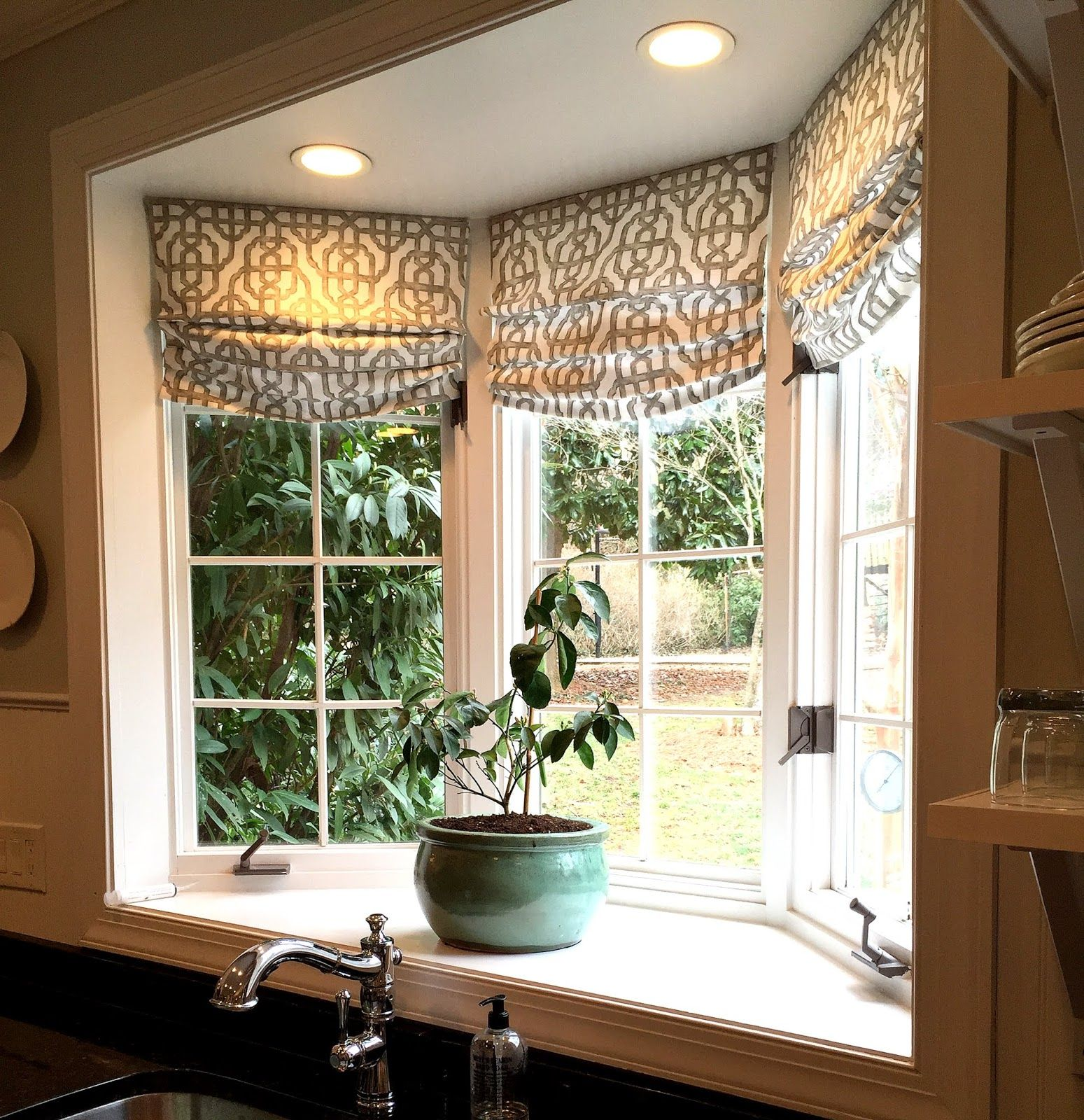 Custom roman shades in lacefield imperial bisque fabric by for Ideas for bay window treatments