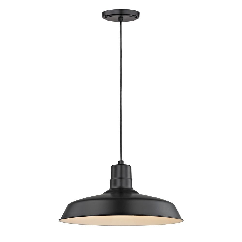 Barn light cord hung pendant black with 16 inch shade barn lights barn light cord hung pendant black with 16 inch shade at destination lighting arubaitofo Image collections