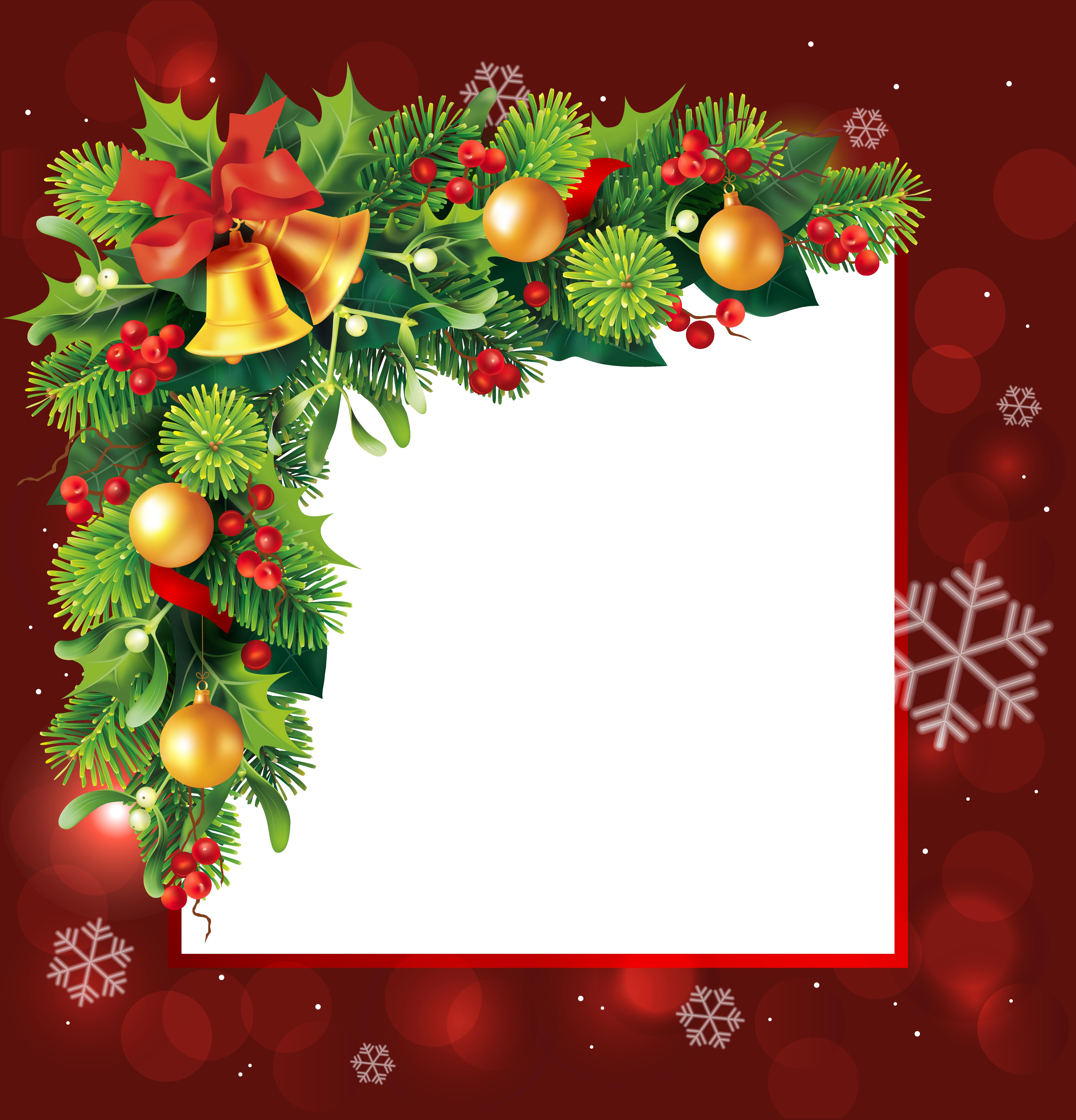 Red Christmas Transparent PNG Border Frame | Christmas ...