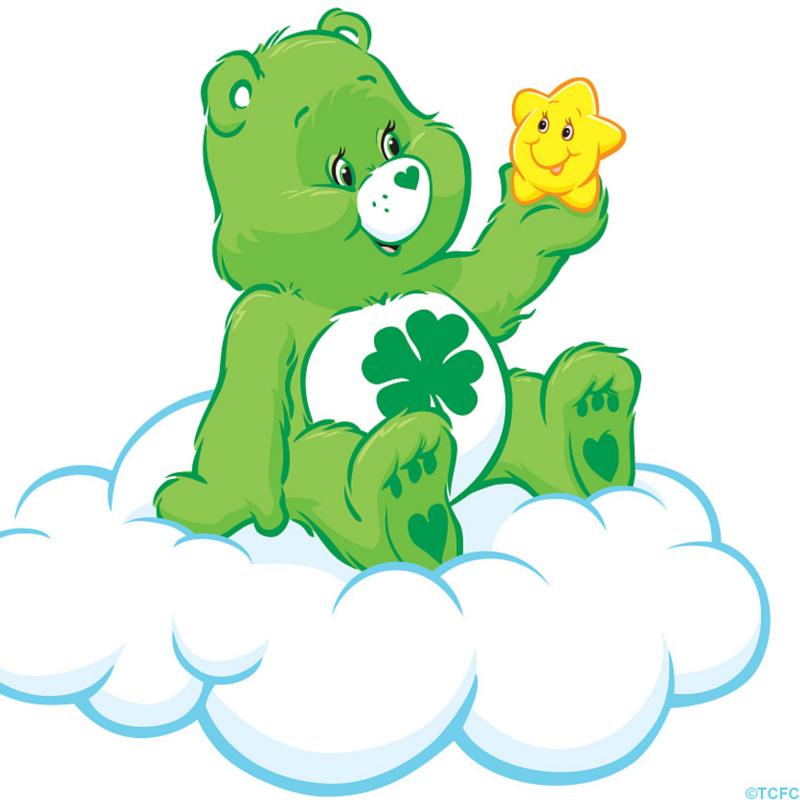 Care Bears Good Luck Bear Sitting On A Cloud Care Bears Care Bear Party Care Bears Cousins