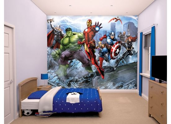 fototapete marvel avengers die walltastic fototapete marvel avengers zeigt alle superhelden im. Black Bedroom Furniture Sets. Home Design Ideas