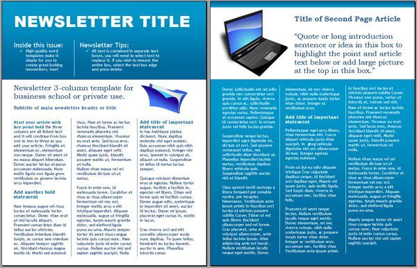 WordDraw - Technology Business Newsletter Template for - newsletter templates free microsoft word