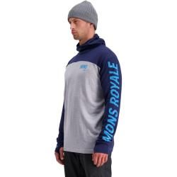 Photo of Mons Royale Merino M Yotei Powder Hood Long-Sleeve | S,m,l,xl | Blau / Grau | Herren Mons RoyaleMons