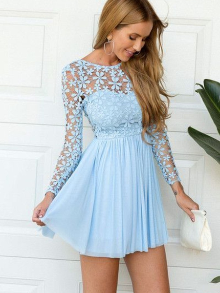 Pretty Scoop Long Sleeves Open Back Chiffon Short Homecoming Dress, BTW160 Pretty Scoop Long Sleeves Open Back Chiffon Short Homecoming Dress, BTW160 #chiffonshorts