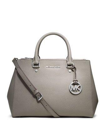 2f44688003d0 #Fashion, #Style: MICHAEL Michael Kors Sutton Medium Satchel ○ Pearl gray  saffiano leather. Silver color hardware. Top zip. Tote handles.