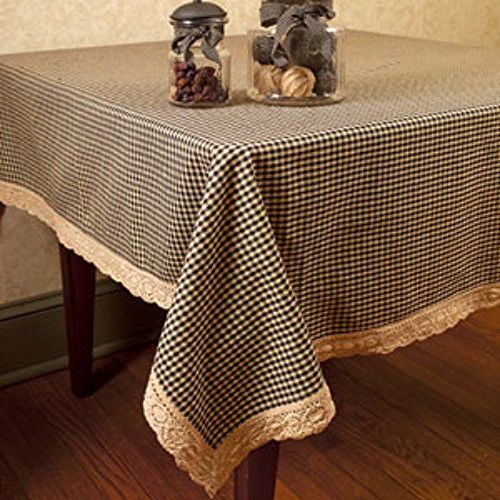 Primitive Country 54 Black Tan Gingham Lace Tablecloth Check Table Cloth