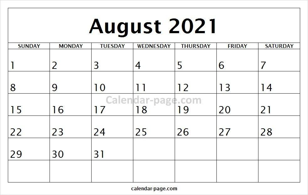 Print Free Blank Calendar 2021 August January Calendar August Calendar October Calendar