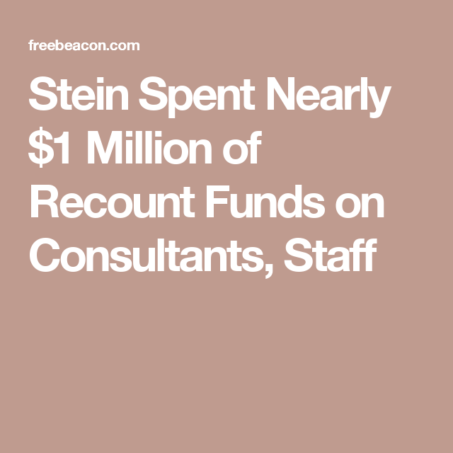 Stein Spent Nearly $1 Million of Recount Funds on Consultants, Staff