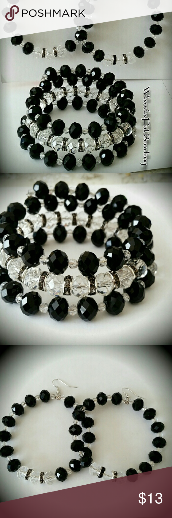Black & Clear 3 Piece Faceted Abacus Crystal Set | Faceted crystal ...