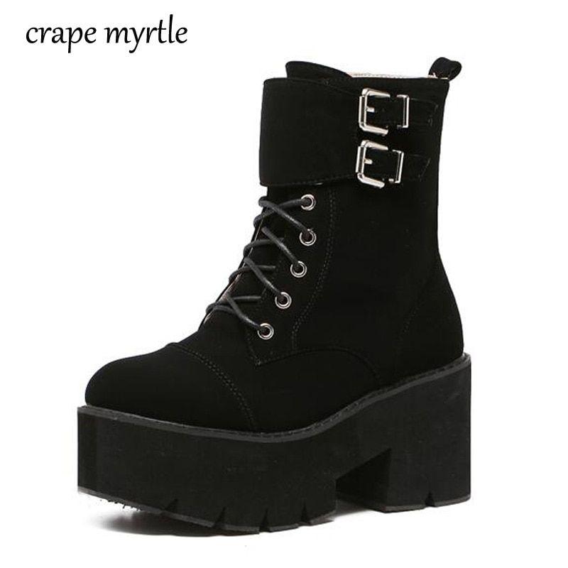 c658fc1f1c9 lace up punk boots women ladies platform boots High Heel winter ...