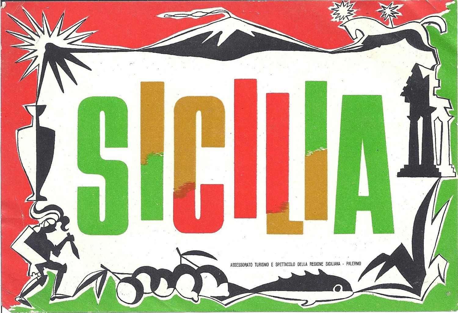 Travel decal sticker tourist luggage Italy Sicily Sicilia by Assemblager on Etsy