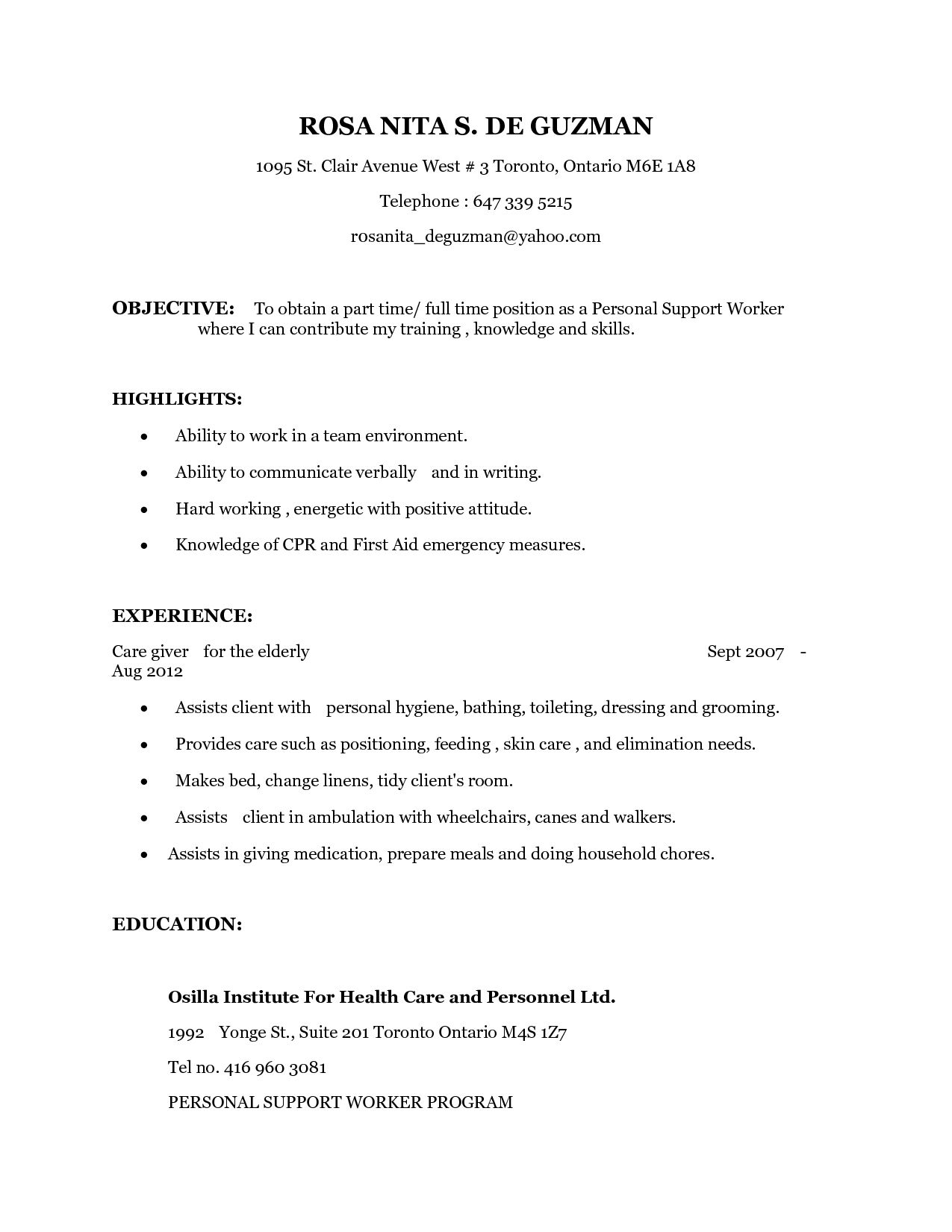 69 Unique Images Of Resume for Psw Examples | Resume