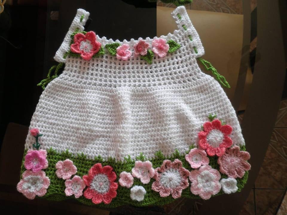 Vestido Con Lindas Flores Para Niña D 3 Años Realizado A