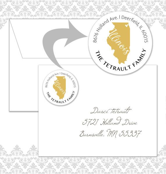 48 Illinois State Circle Return Address Labels by Spilling Beans