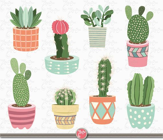 Cactus drawing. Clip art clipart pack
