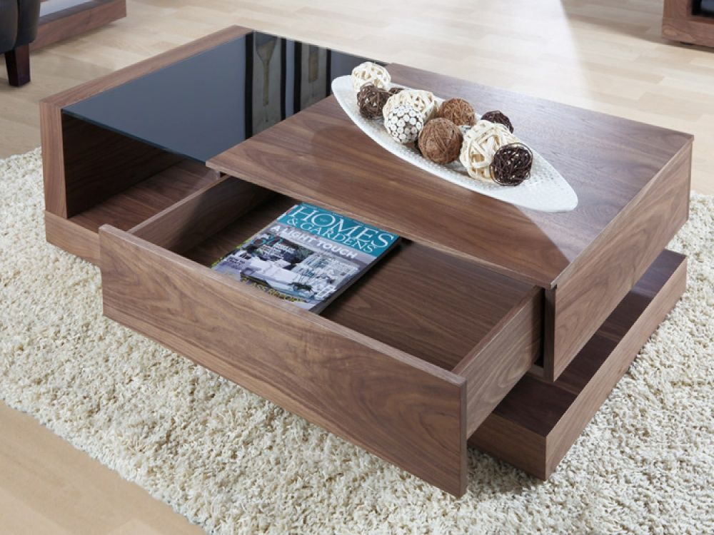 jual cube walnut & black glass coffee table | coffee tables from