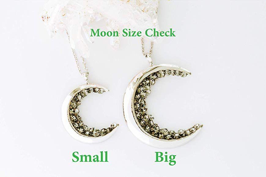 ONDAISY Black Cz Gypsy Planet Half Crescent Sailor Luna Moon Pendant Charm Chain Necklace