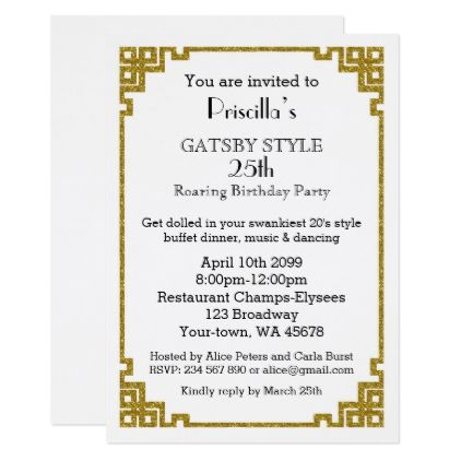 25thBirthday party Gatsby style blush & gold Card - invitations personalize custom special event invitation idea style party card cards