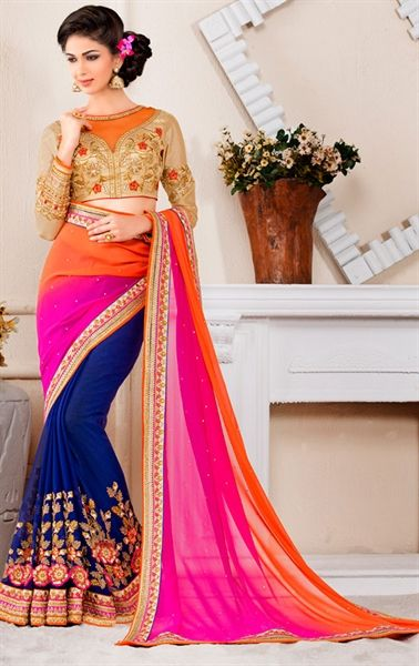 Aesthetic Blue, Pink and Orange Georgette and Chiffon Saree