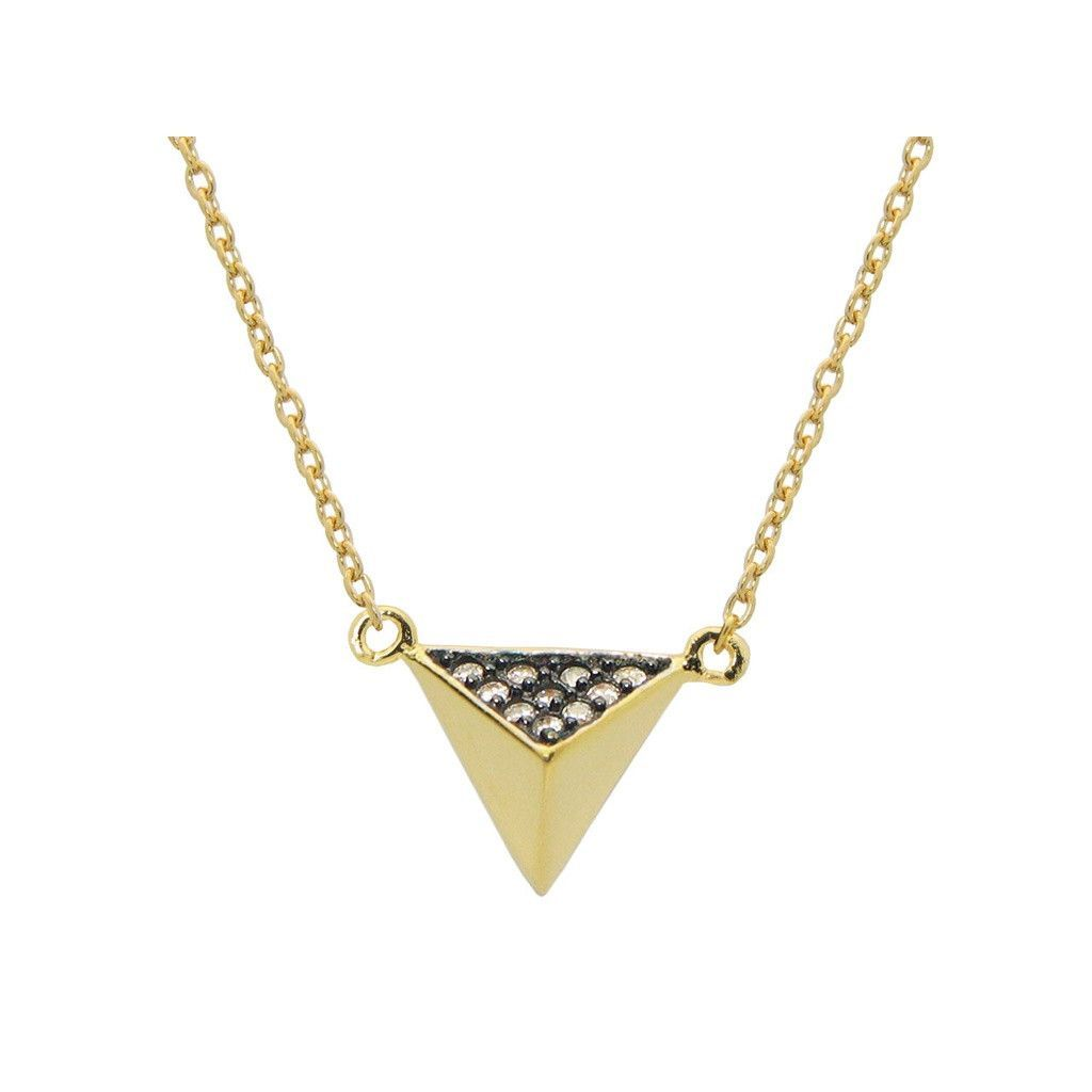 """Silver Gold Plated Triangle Pyramid Pendant Necklace 15"""" + 1"""" Cz Side Black Rhodium .9mm"""