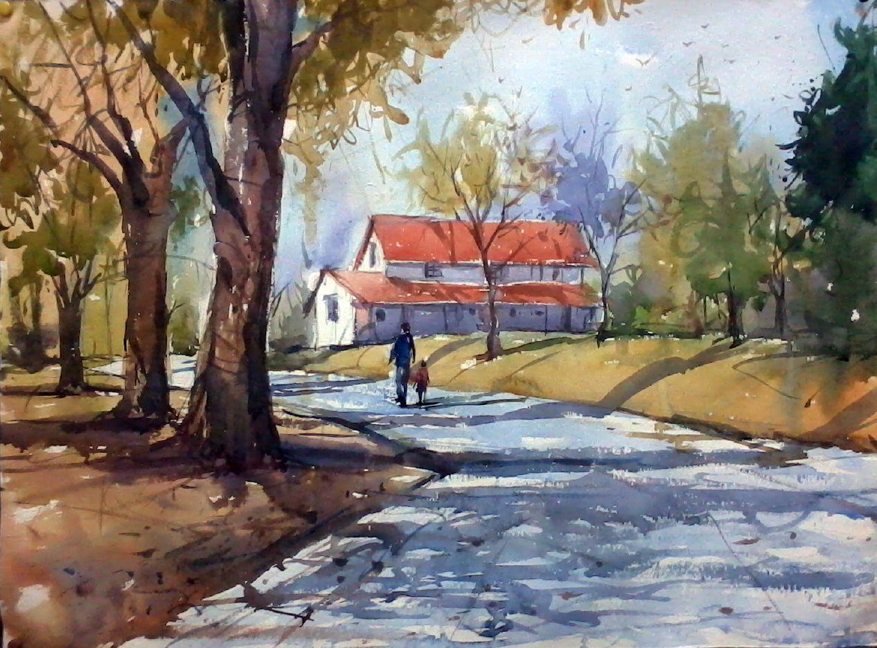 My Todays Watercolour Painting Watercolor Landscape Painting Landscape