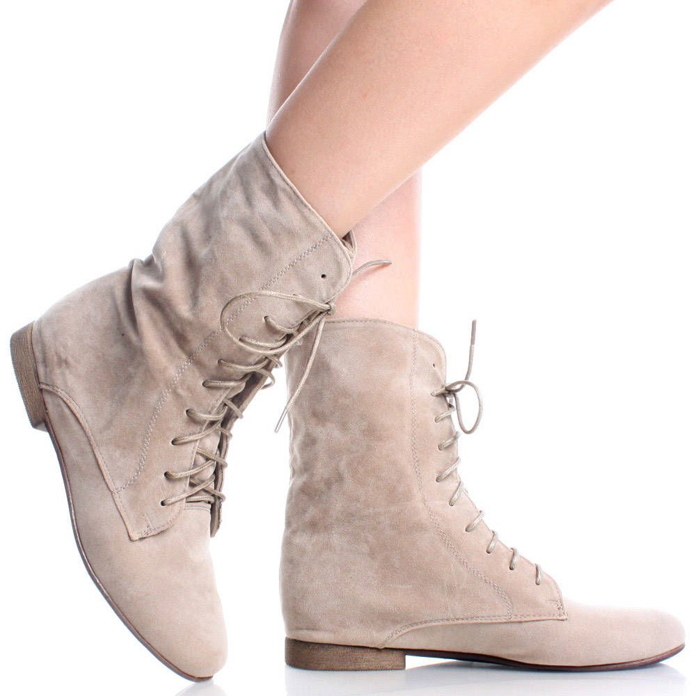 Beige-Suede Pointy Toe Lace Up Oxford Style Womens Flat Ankle ...
